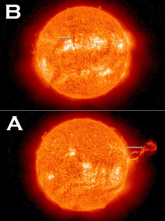Two images from space of a massive solar eruption