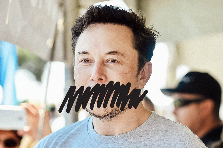Elon Musk with a scribble drawn across his mouth.