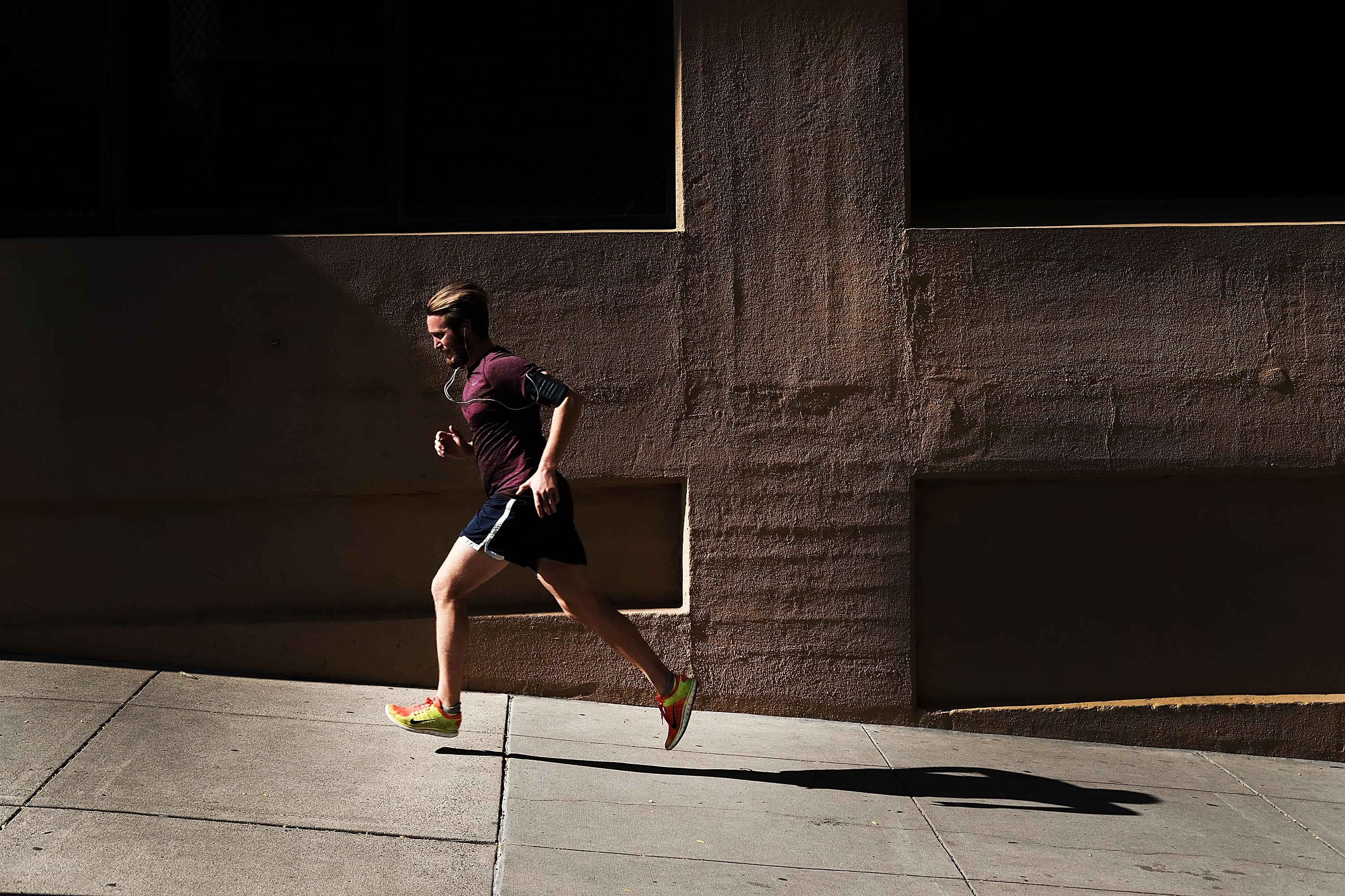 A man jogs on the street on October 18, 2016 in the Brooklyn borough of New York City.