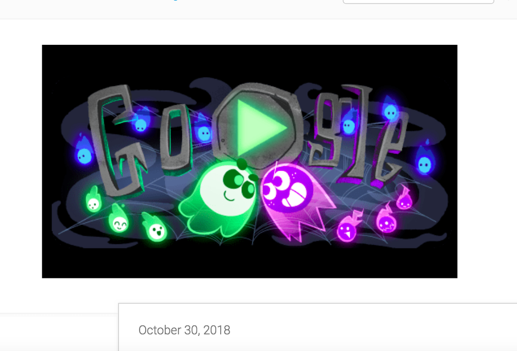 """Letter-shaped tombstones form the word """"Google."""" Two ghosts, one green and one purple, face off in the foreground."""