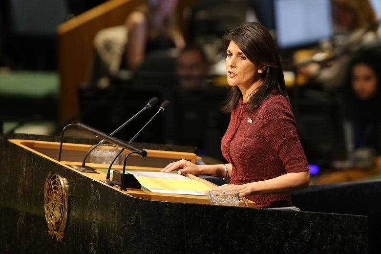 NEW YORK, NY - DECEMBER 21:  Nikki Haley, United States Ambassador to the United Nations, speaks on the floor of the General Assembly on December 21, 2017 in New York City. A vote is scheduled at the United Nations General Assembly today concerning Washington's decision to recognize Jerusalem as Israel's capital and relocate its embassy there. The US, which alone vetoed a resolution put to the Security Council on the move to Jerusalem, cannot veto General Assembly motions, which require a simple majority to be adopted. The Trump administration has threatened to take action against any country that votes against the United States decision to move its embassy.  (Photo by Spencer Platt/Getty Images)