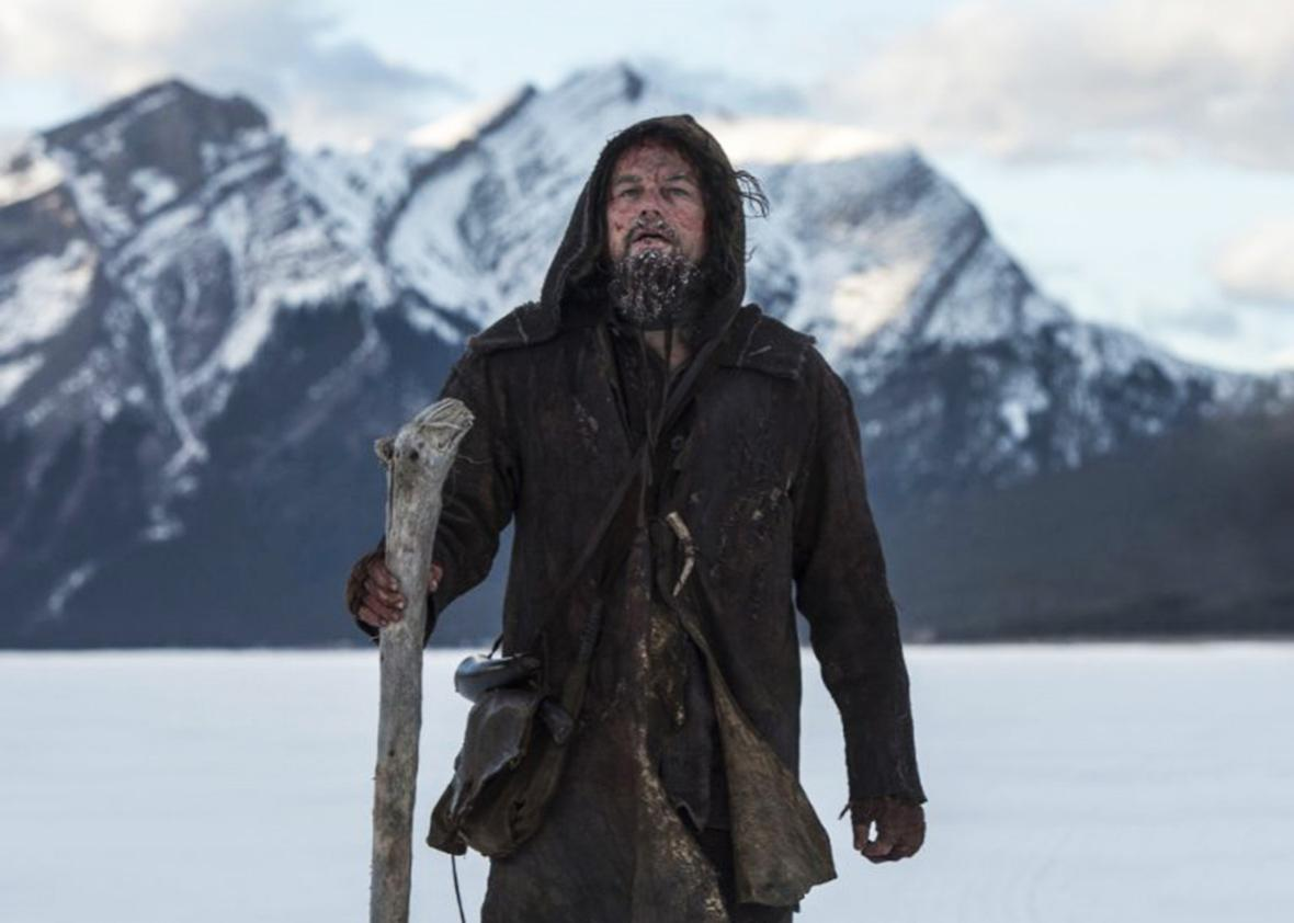 Still of Leonardo DiCaprio in The Revenant.