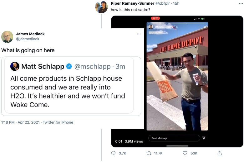 "On the right, Ben Shapiro holds a piece of wood outside a Home Depot. On the left, a tweet by Matt Schlapp about boycotting ""come"" products."