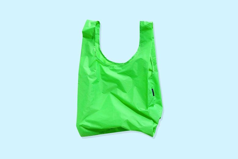 A lime green Baggu tote bag.
