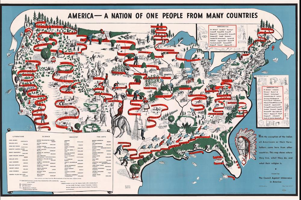 Diversity map: 1940 map of American ethnic groups owned by Langston ...