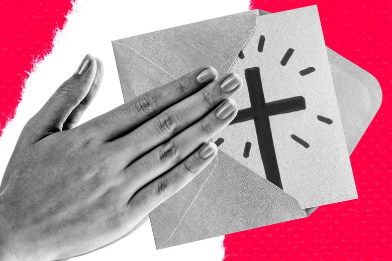 Praying hands holding out a greeting card with a hand drawn crucifix on the cover.