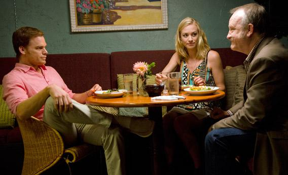 Michael C. Hall as Dexter Morgan, Yvonne Strahovski as Hannah McKay and Jim Beaver as Clint McKay in Dexter.