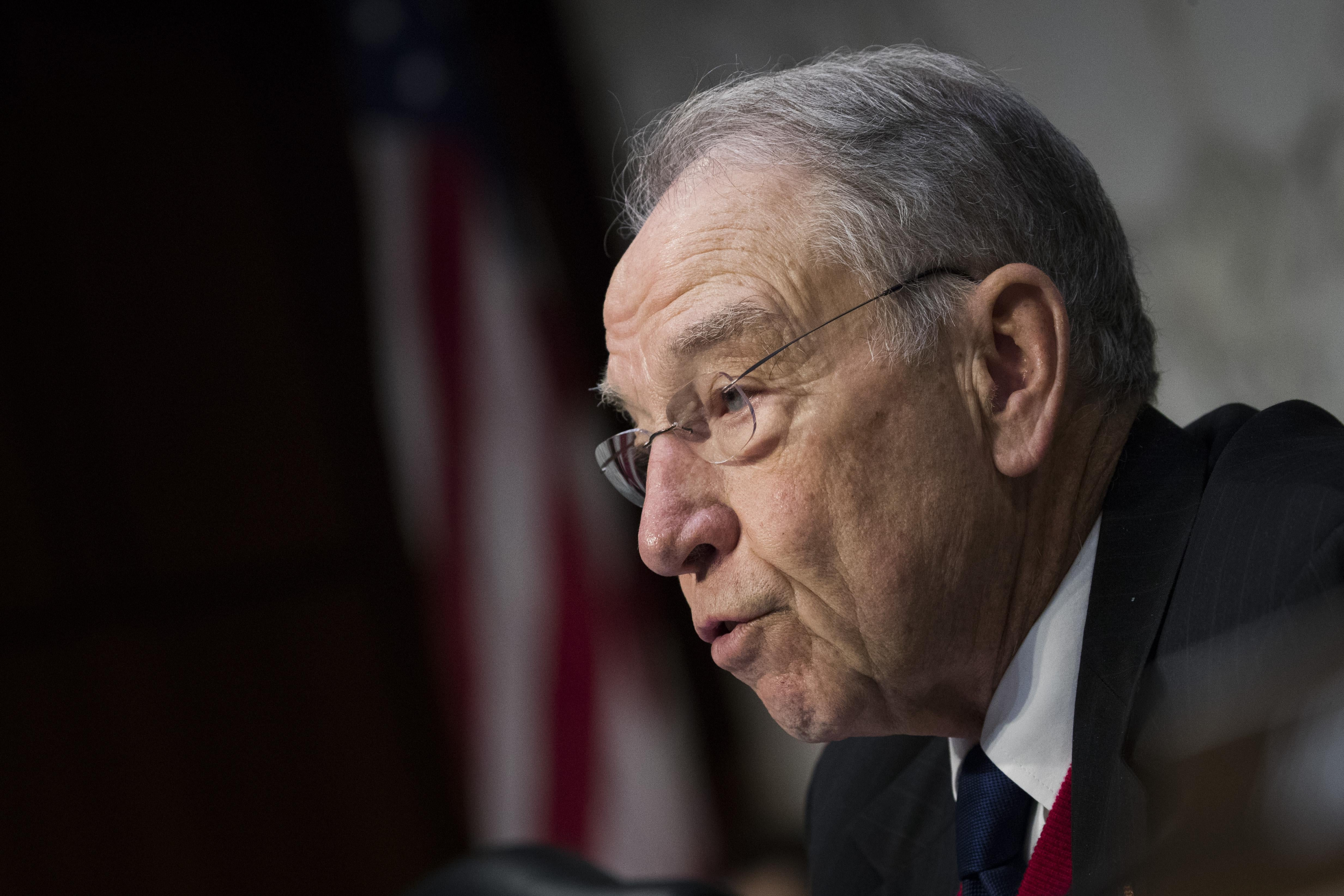 Chairman Sen. Chuck Grassley questions witnesses during a Senate Judiciary Committee hearing on Capitol Hill on Dec. 6 in Washington.