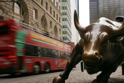 The Wall Street bull statue in the financial district of New York City