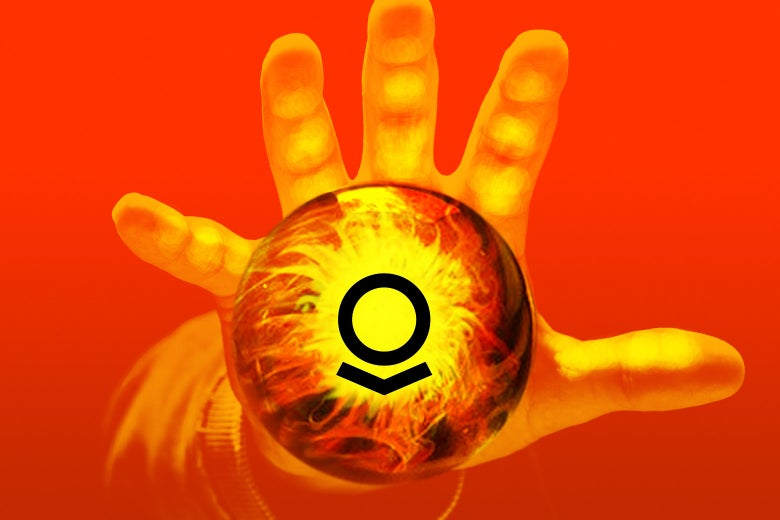 Photo illustration of Palantir logo inside of magical orb with a hand over it.
