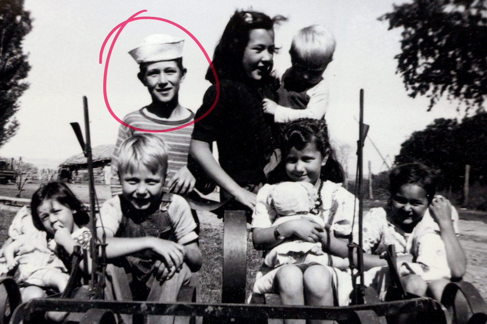 Gary Goodson, in the sailor hat, as a child with some of his siblings, nieces, and nephews.
