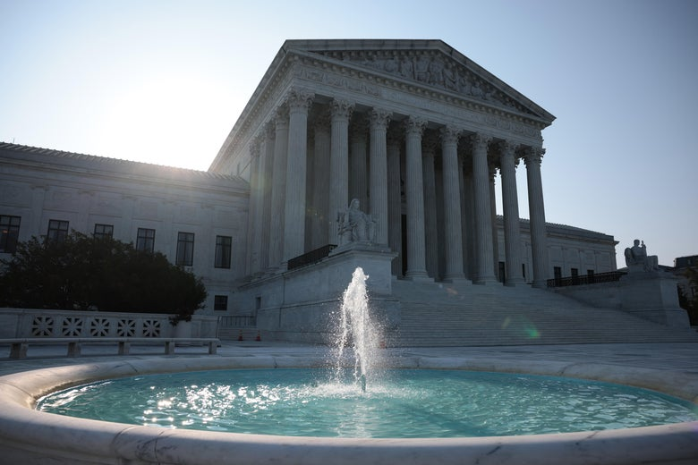 The Supreme Court fountain with the plaza and building in the background