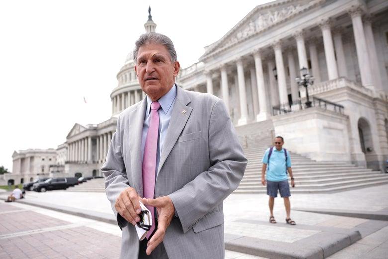 Sen. Joe Manchin (D-WV) leaves the U.S. Capitol following a vote on August 3, 2021 in Washington, D.C.