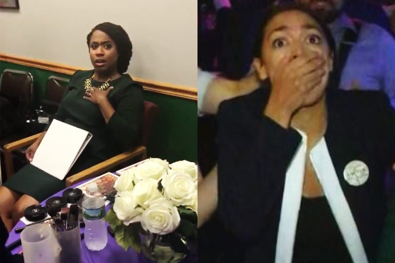 A seated Ayanna Pressley holds her hand to her heart with a surprised look on her face. Alexandria Ocasio-Cortez clamps her hand over her mouth, her eyes wide.