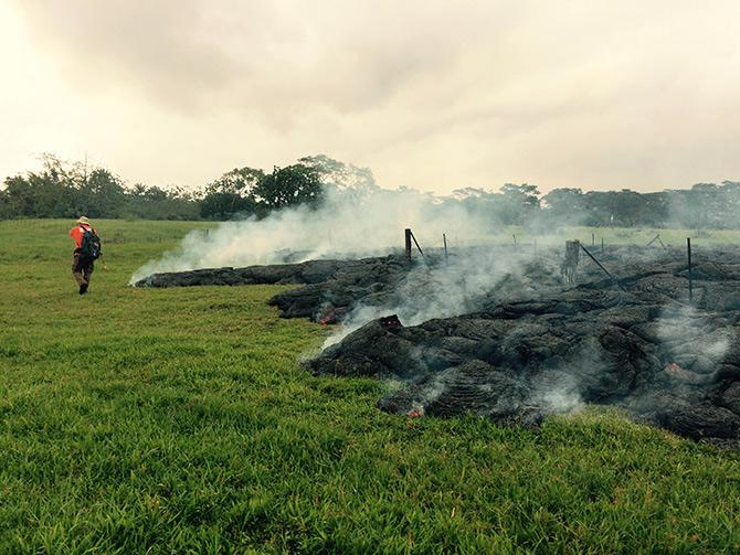 USGS geologists continually monitor the lava and track its forward progress.
