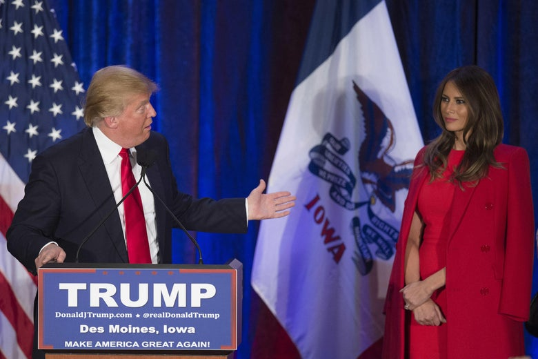 Republican Presidential candidate Donald Trump (L) thanks his wife Melania (R) as he addresses his supporters after finishing second in the Iowa Caucus, in West Des Moines, Iowa, February 1, 2016.           Republican Senator Ted Cruz has won the Iowa caucuses -- the first vote in the US presidential race -- in a tight contest with frontrunner Donald Trump and Senator Marco Rubio, US media projections showed. / AFP / Jim WATSON        (Photo credit should read JIM WATSON/AFP/Getty Images)