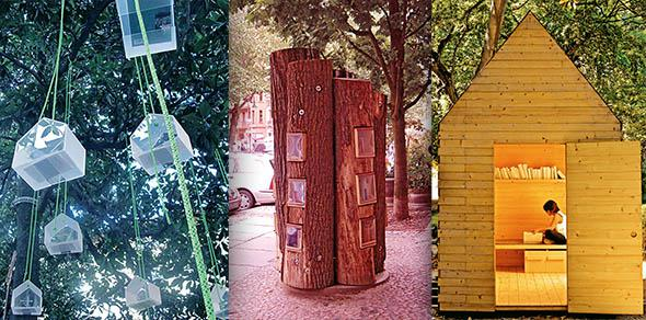 Didier Muller's Librairie Urbaine, left, the Bucherwald miniature library, center, and  One, Two, Many, a shed-like library intended to be used by only one person at a time.