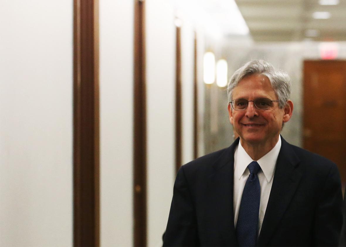 Supreme Court nominee Merrick Garland arrives for a meeting with Sen. Ron Wyden, on Capitol Hill April 28, 2016 in Washington, DC.