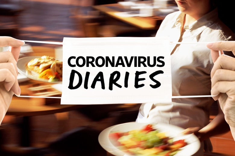 A restaurant scene, blurred, with a Coronavirus banner over it.