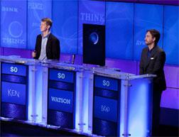 Contestants Ken Jennings and Brad Rutter compete against 'Watson'. Click image to expand.