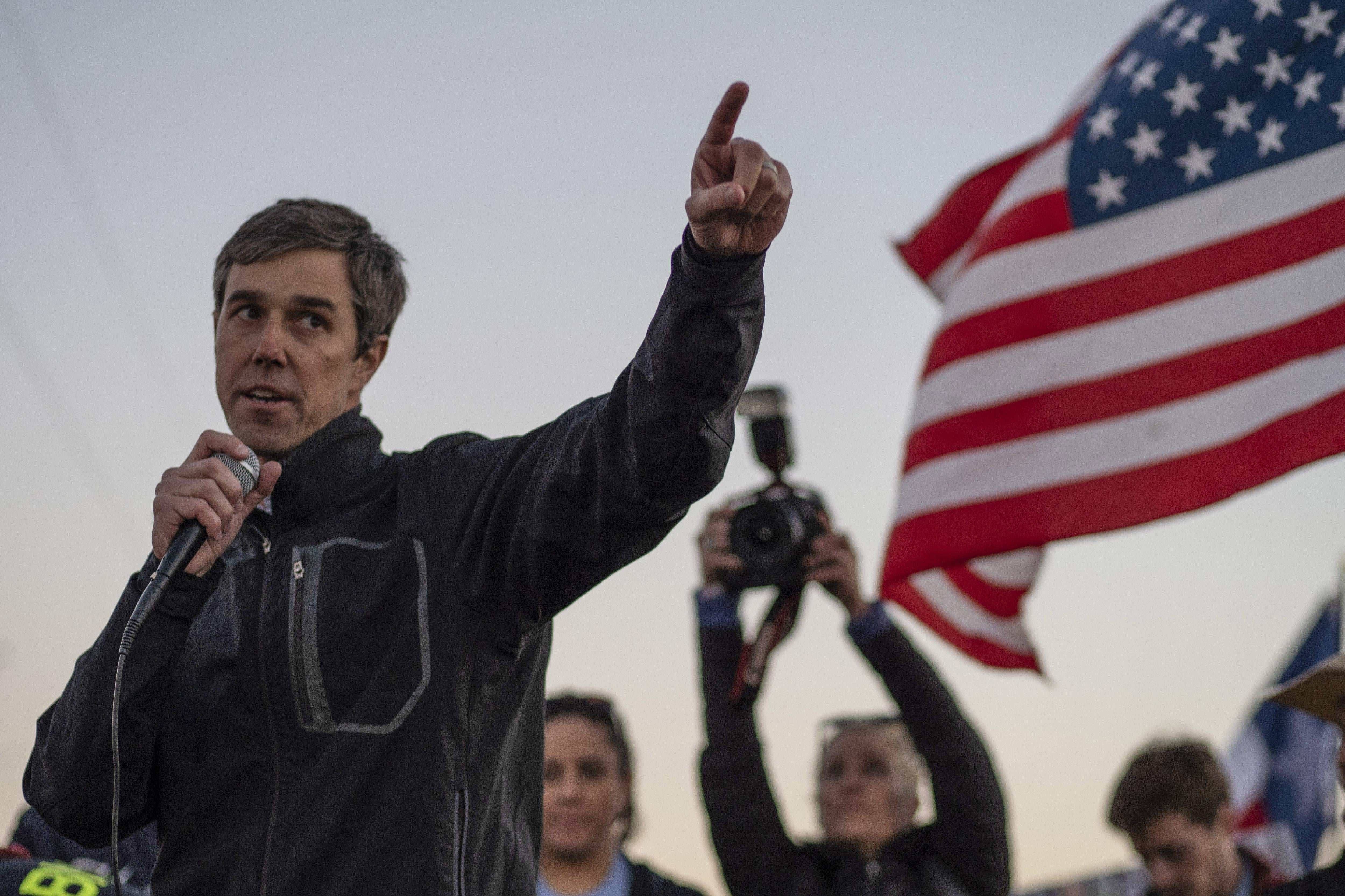 Beto O'Rourke speaks to a crowd of marchers during the anti-Trump 'March for Truth' in El Paso, Texas, on Feb. 11, 2019.