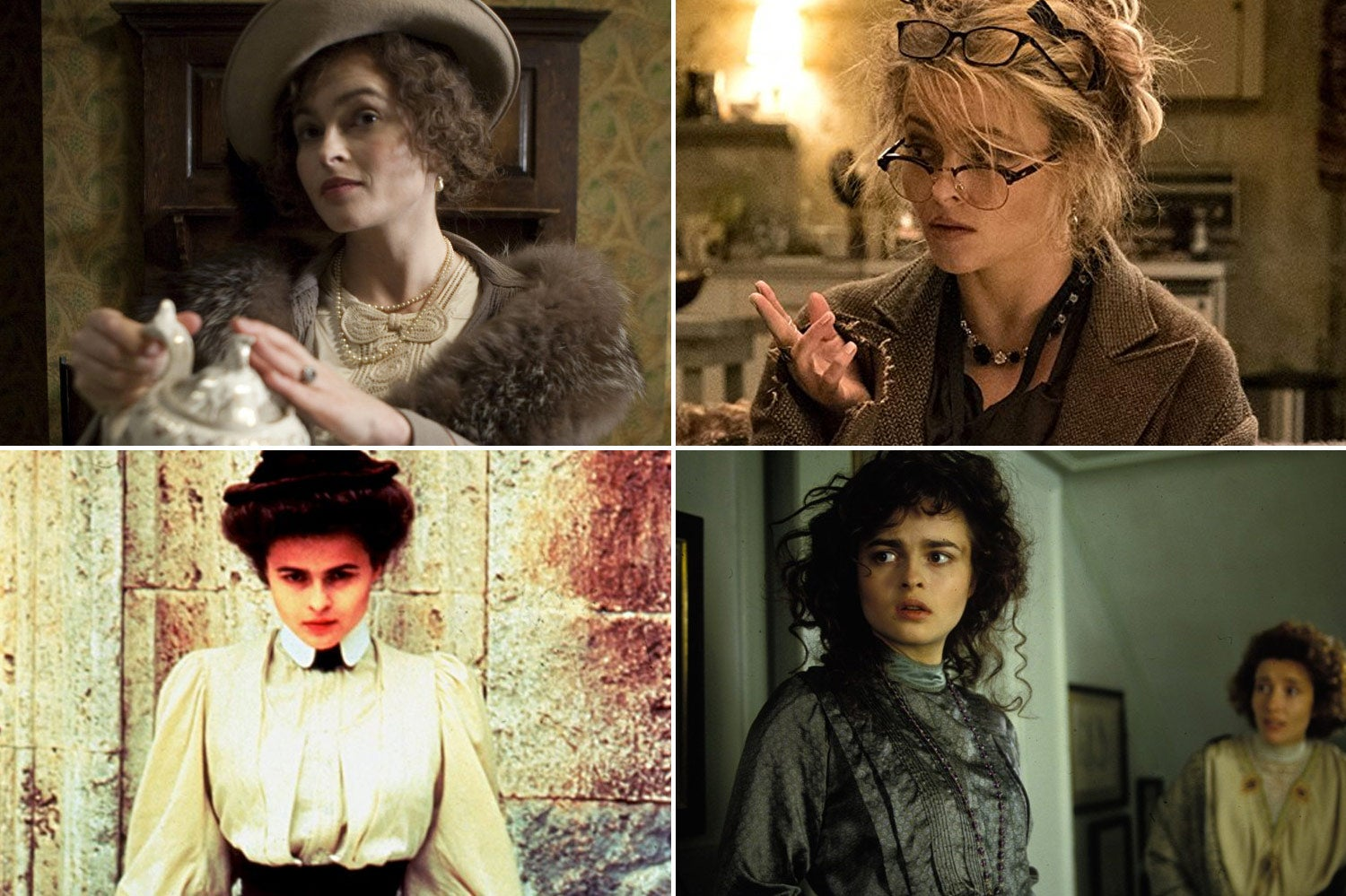 Helena Bonham Carter in The King's Speech, Ocean's 8, A Room With a View, and Howard's End.