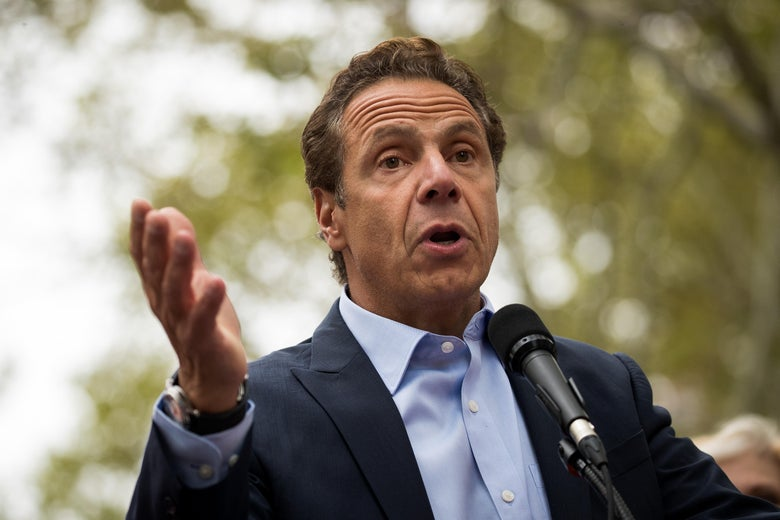 New York Governor Andrew Cuomo speaks at a union rally during a contract dispute with Charter Communications/Spectrum.