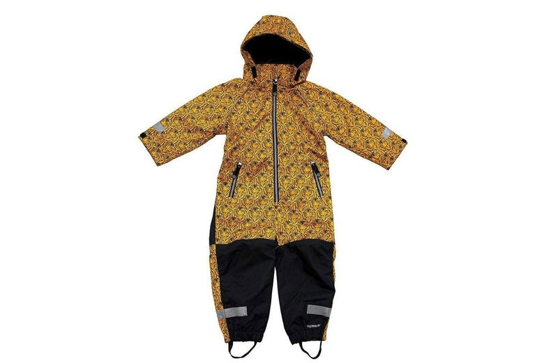 A one-piece rain suit for kids.