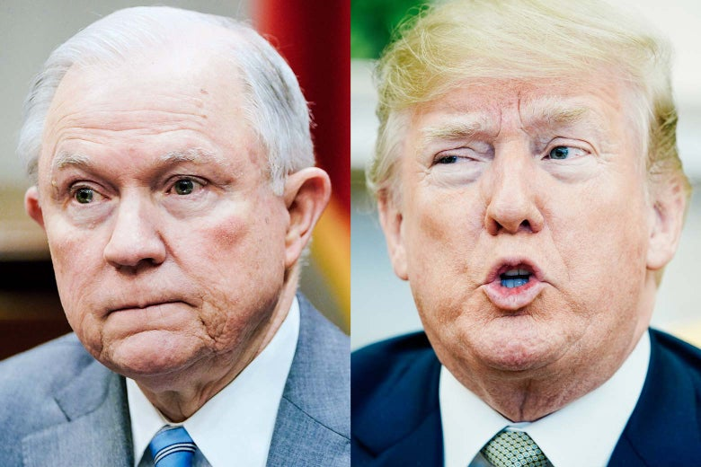 Photo illustration: side-by-side of Attorney General Jeff Sessions and President Donald Trump.