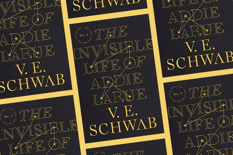 Repeating pattern of the cover of The Invisible Life of Addie LaRue.