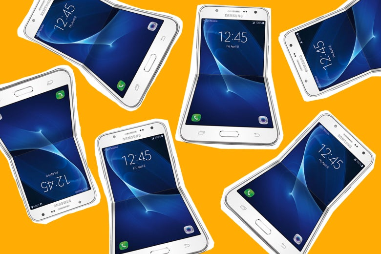 Folding Samsung phones.