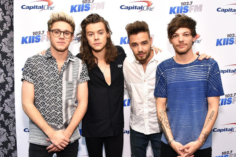 LOS ANGELES, CA - DECEMBER 04:  (L-R) Recording artists Niall Horan, Harry Styles, Liam Payne and Louis Tomlinson of music group One Direction attend 102.7 KIIS FM's Jingle Ball 2015 Presented by Capital One at STAPLES CENTER on December 4, 2015 in Los Angeles, California.  (Photo by Mike Windle/Getty Images for iHeartMedia)