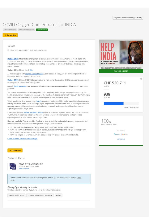 An internal Google message about donations