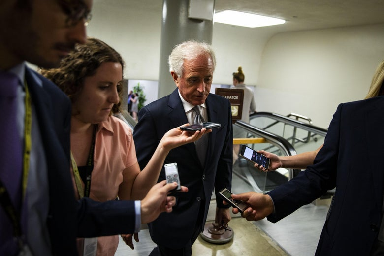 WASHINGTON, DC - JULY 10: Sen. Bob Corker (R-TN) speaks to reporters as he heads to the weekly Senate Republicans policy luncheon, on Capitol Hill, on July 10, 2018 in Washington, DC. (Photo by Al Drago/Getty Images)