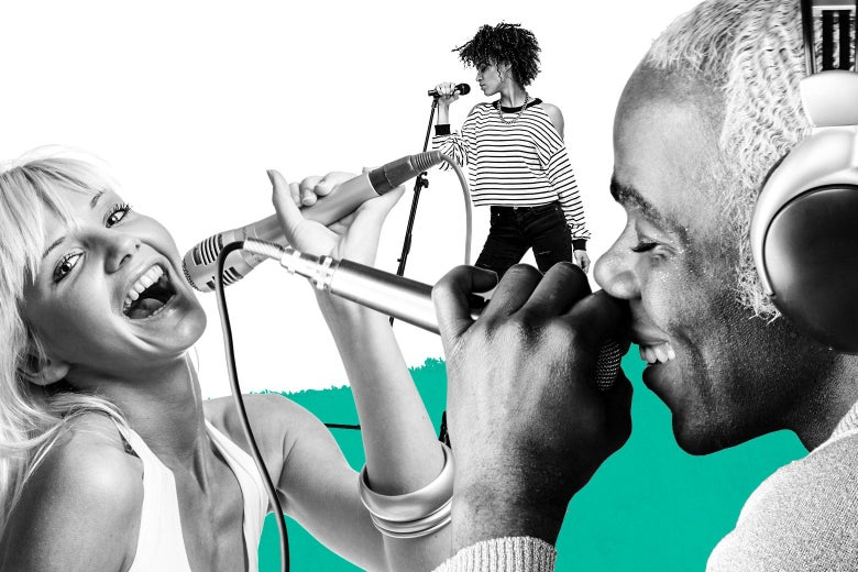 Photo illustration of people singing into microphones