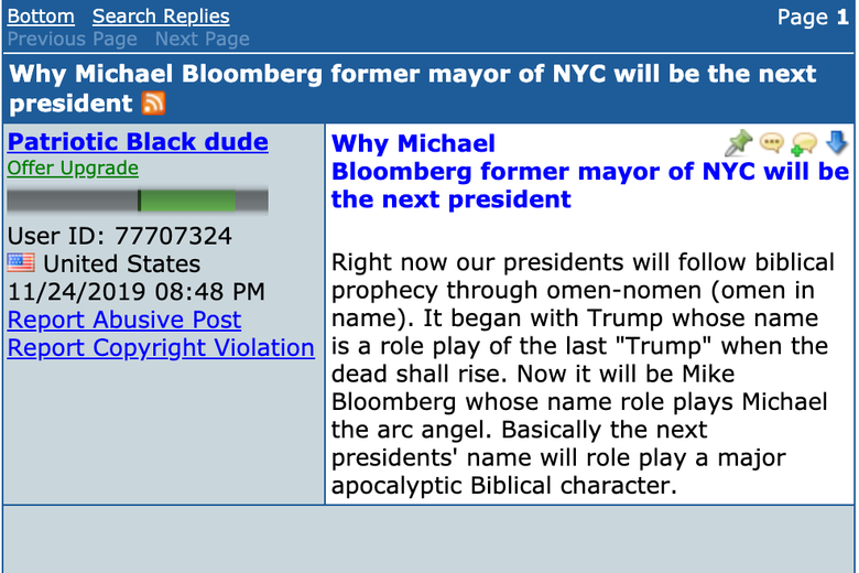 Screenshot of a forum post suggesting that Bloomberg will be the next president in accordance with biblical prophecy