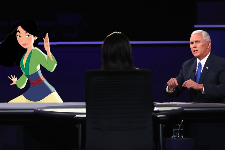 On the right, Mike Pence sits down for the debate. On the left, Hua Mulan.