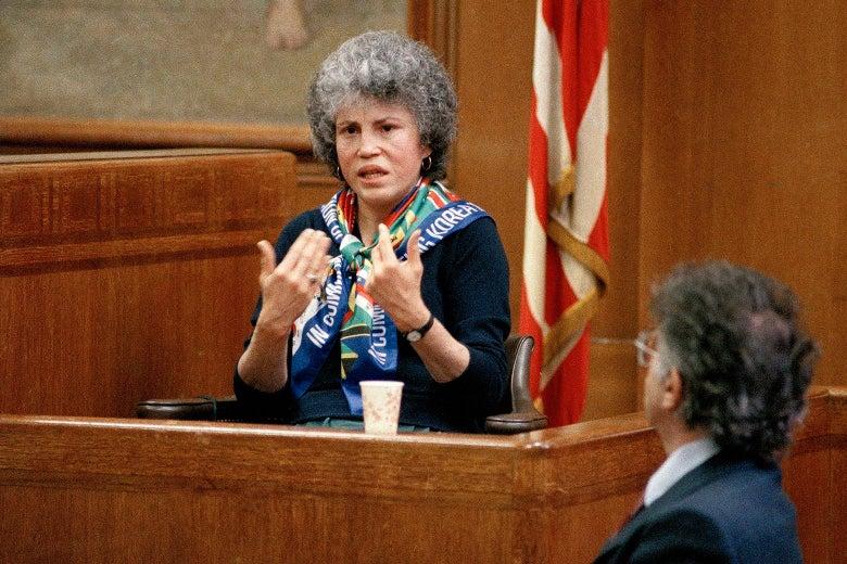 Hedda Nussbaum testifies in Joel Steinberg's murder trial.