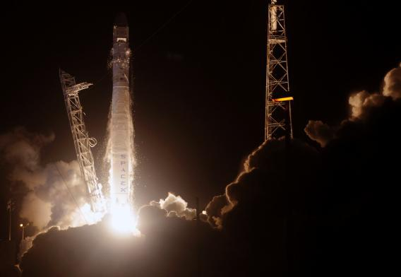 SpaceX's Falcon 9 rocket blasts off from Cape Canaveral on Oct. 7.