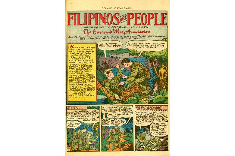 A comic in which an American soldier helps a Filipino man.