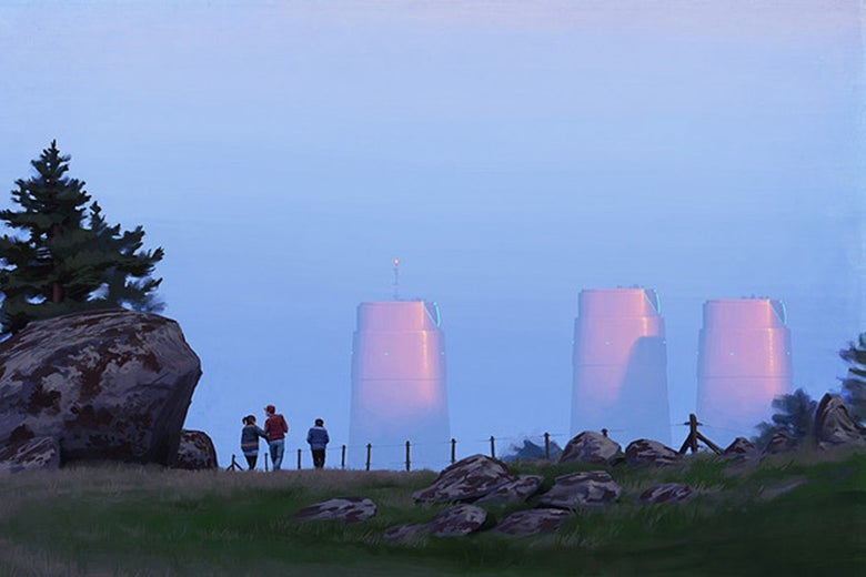 People at a lookout point with futuristic buildings in the distance.