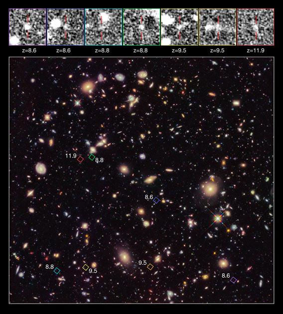 Hubble view of the most distant galaxy ever seen.