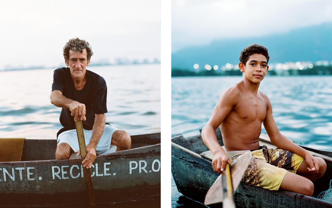 Seu Barrão, Favela Vila Autodromo, 2013, in his boat on Lagoa de Jacarepagua, where he fishes for a living. A fisherman, Seu Barrão fears the loss of his livelihood if he is forced to relocate to a remote area, as has been projected by the city planners. Right: Seu Barrão's son Tiago