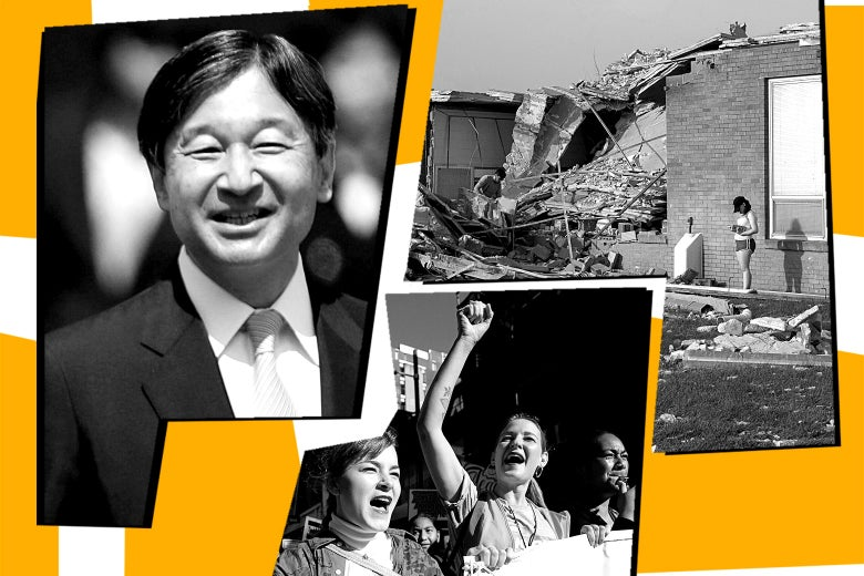 Japanese Emperor Naruhito, tornado aftermath, and the New Zealand strike.