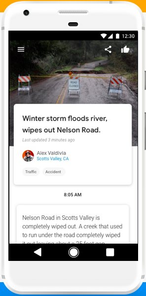 A screenshot of the Google Bulletin app, showing a flooded river.