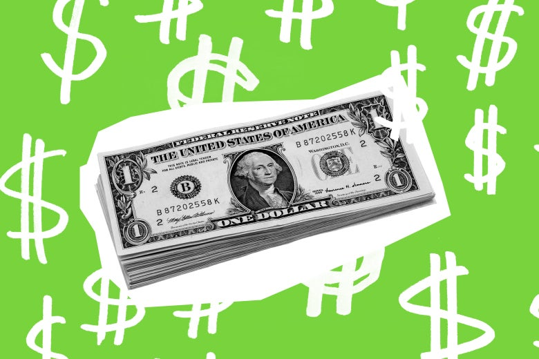 A small stack of dollar bills surrounded by illustrated dollar signs.