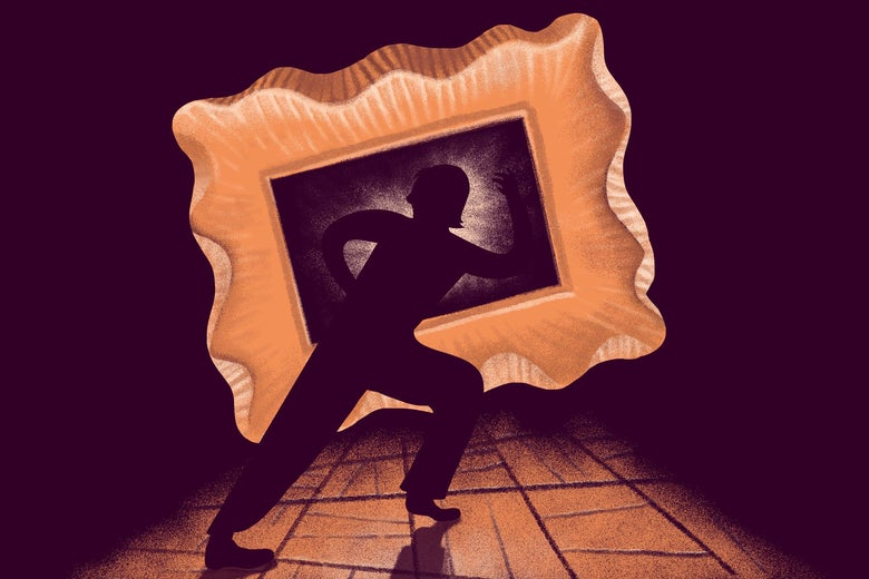 A silhouette is seen reaching through a picture frame.