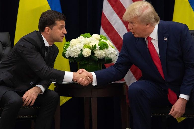 President Trump and Ukrainian President Volodymyr Zelensky shake hands during a meeting in New York on Sept. 25, 2019.