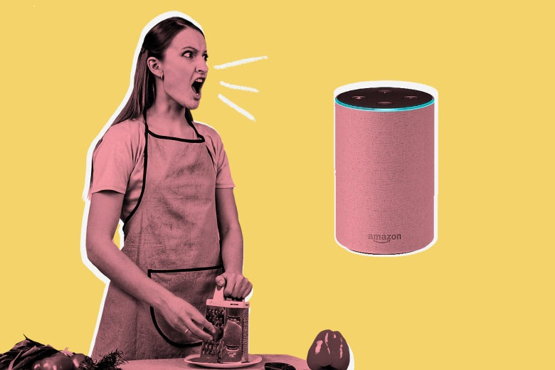 A woman in an apron yells at an Amazon Echo