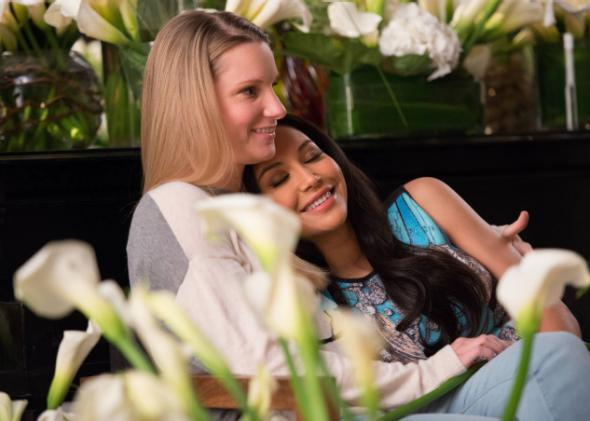 Brittany (Heather Morris) and Santana (Naya Rivera) in Glee.